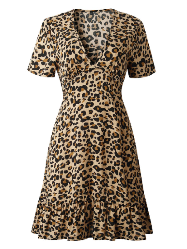 'Healani' Leopard Print V-Neck Mini Dress (4 Colors)