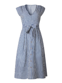 'Ginevra' Striped Button Front Tied Waist Midi Dress (2 Colors)