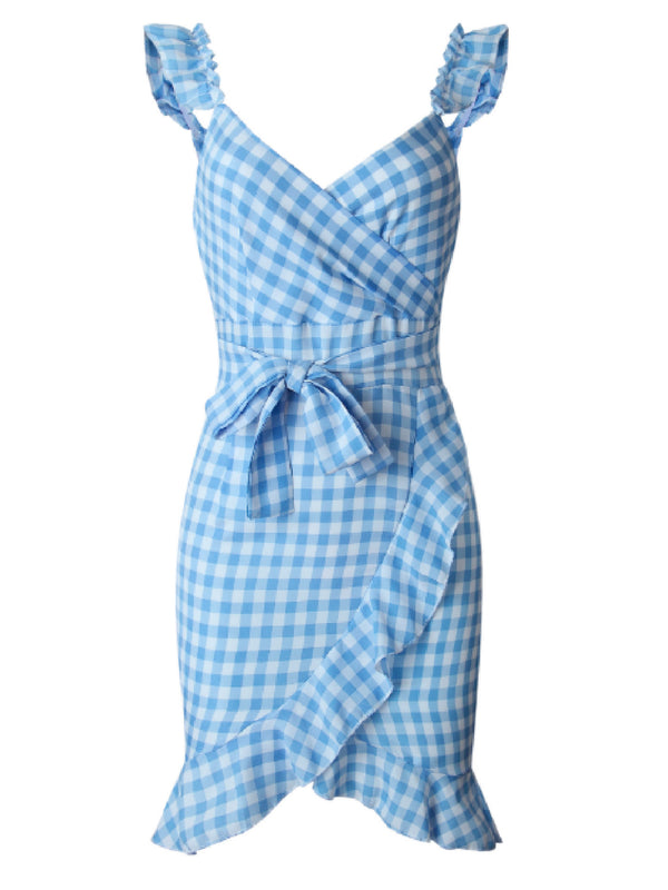 'Wattana' Gingham Ruffled Sleeve Tied Waist Mini Dress (2 Colors)