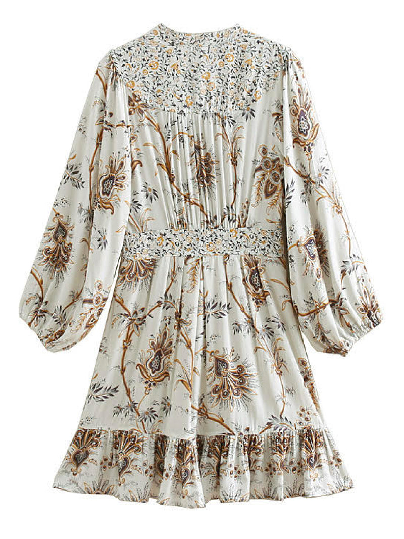 'Flannery' Bohemian Print Flared Mini Dress