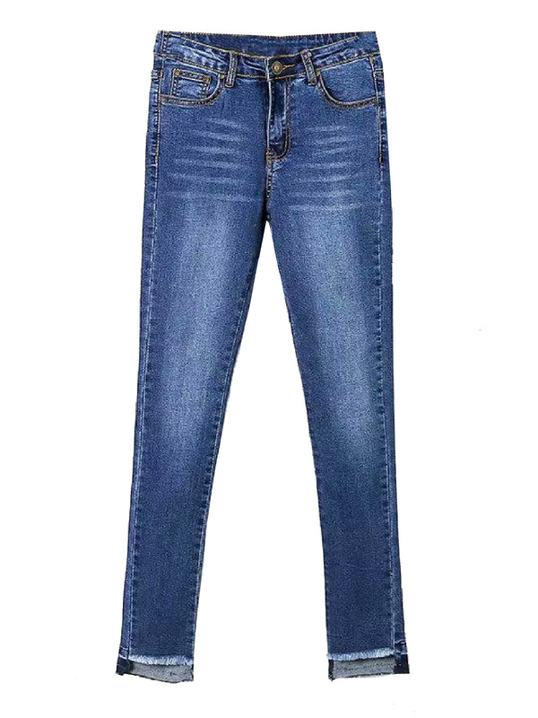 'Buth' Raw Hem Skinny Jeans (2 Colors)
