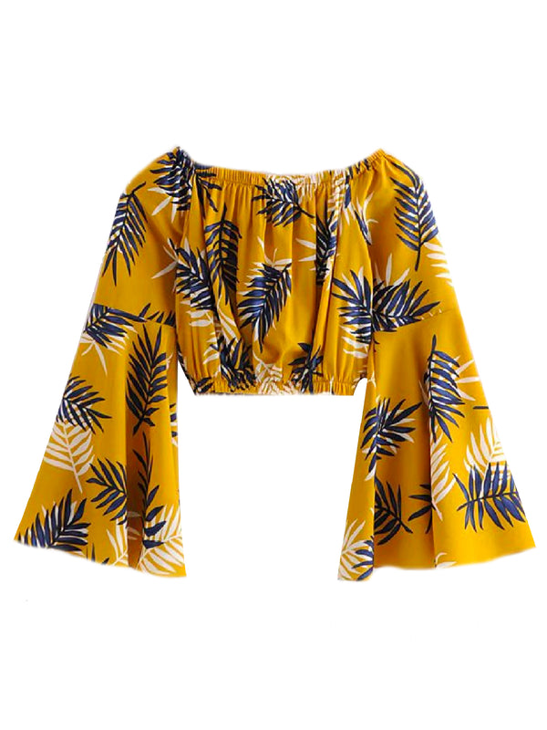 'Daisy' Leaf Print Off The Shoulder Crop Top (2 Colors)