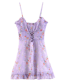 'Teca' Floral Lilac Laced Up Front Mini Dress