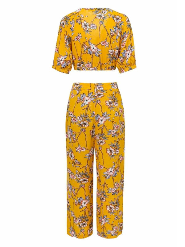 'Bosca' Floral Crop Top Wide Leg Pants Co-ord