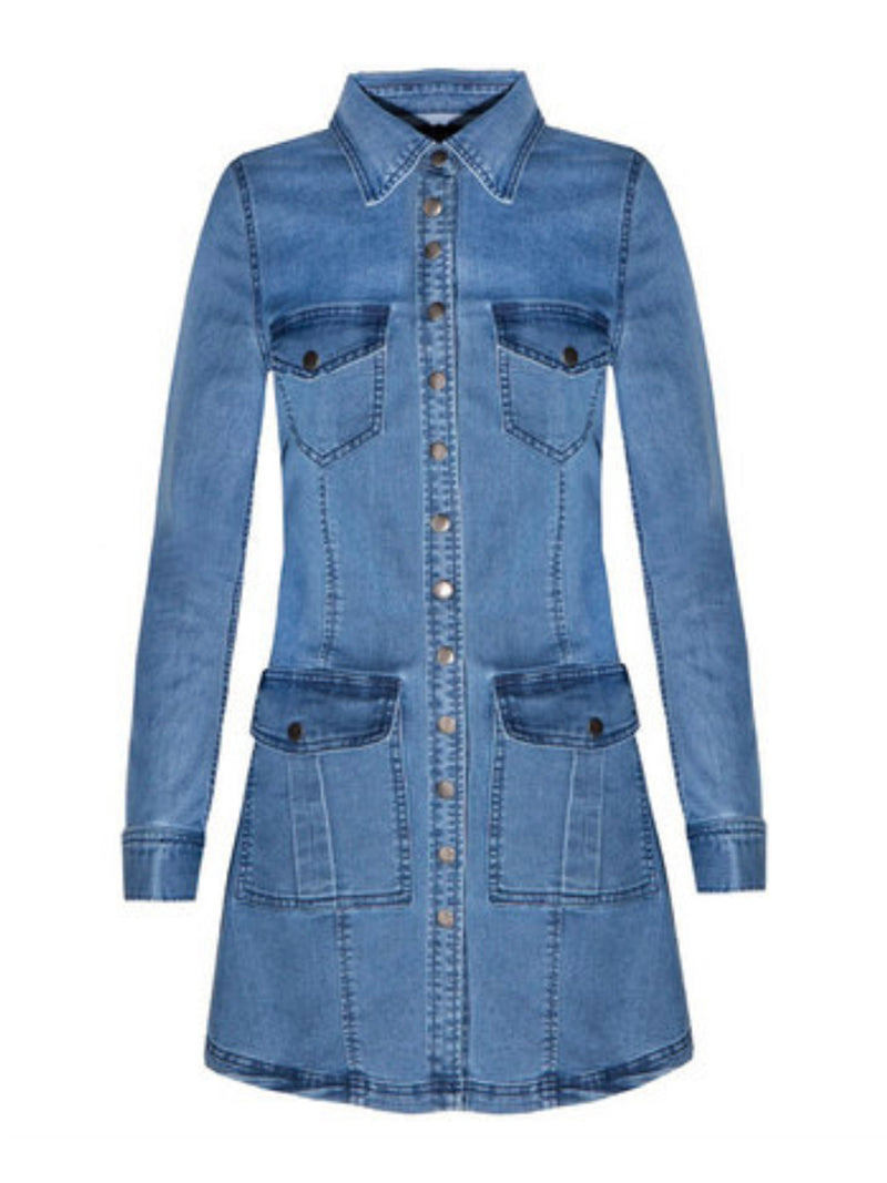 'Adrea' Denim Button Through Mini Dress
