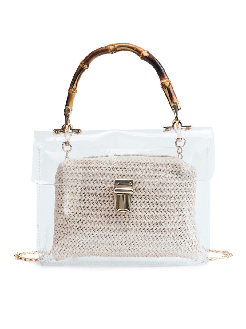 'Unnie' Bamboo Handle Transparent Bag (3 Colors)