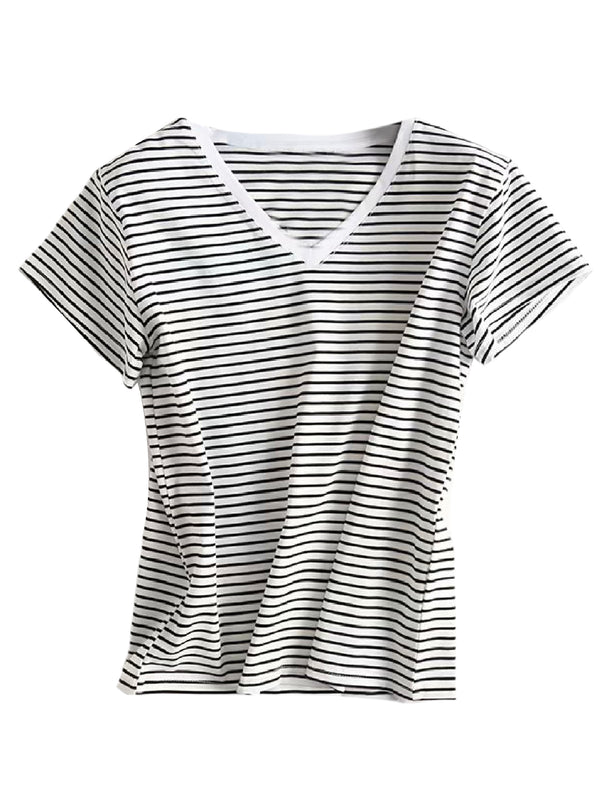 'Kayla' Striped V-Neck T-Shirt (2 Colors)