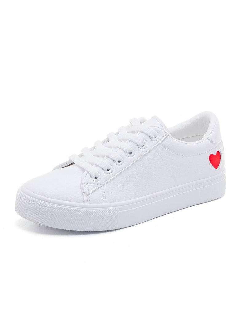 'Louie' Heart Detail White Sneakers (2 Colors)