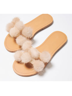 'Alisa' Pom Pom Slide Sandals (2 Colors)