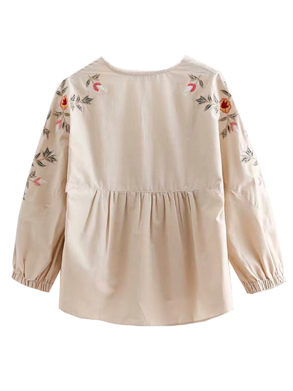 'Cheny' Embroidered V-Neck Blouse