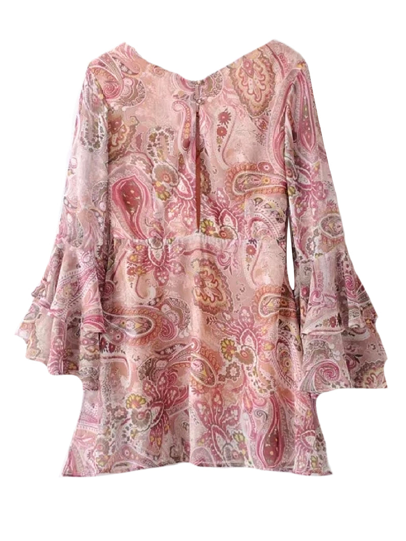 'Dani' Paisley Print Flared Mini Dress