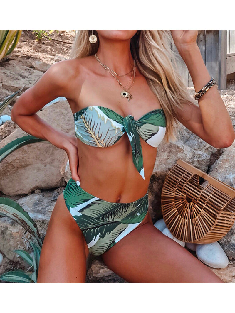 'Vanna' Palm Print Tied Front Bikini Set