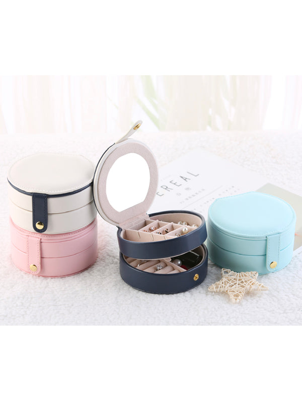 'Bonnie' Small Circle Travel Jewelry Box (4 Colors)