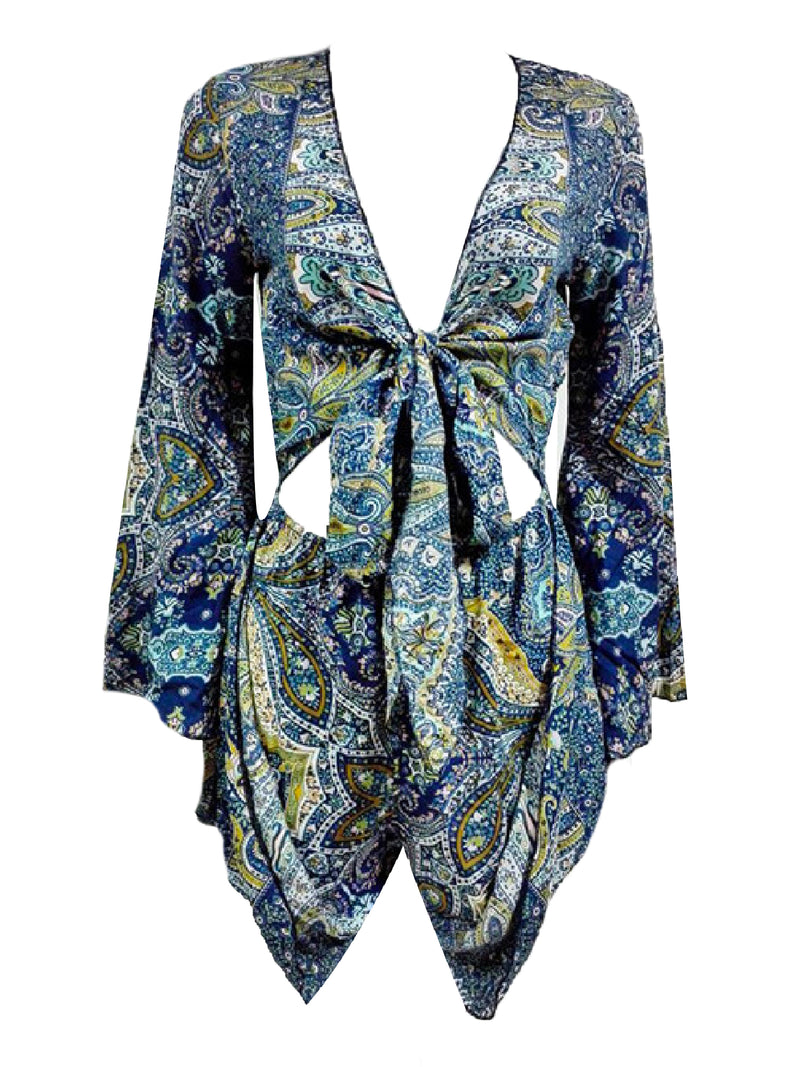 'Yogis' Bohemian Print Tied Front Romper (2 Colors)