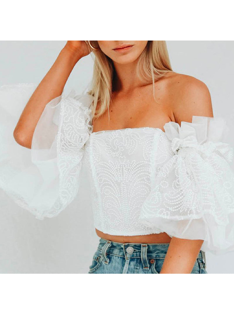 'Kirsty' Embroidered Off The Shoulder Ruffled Top