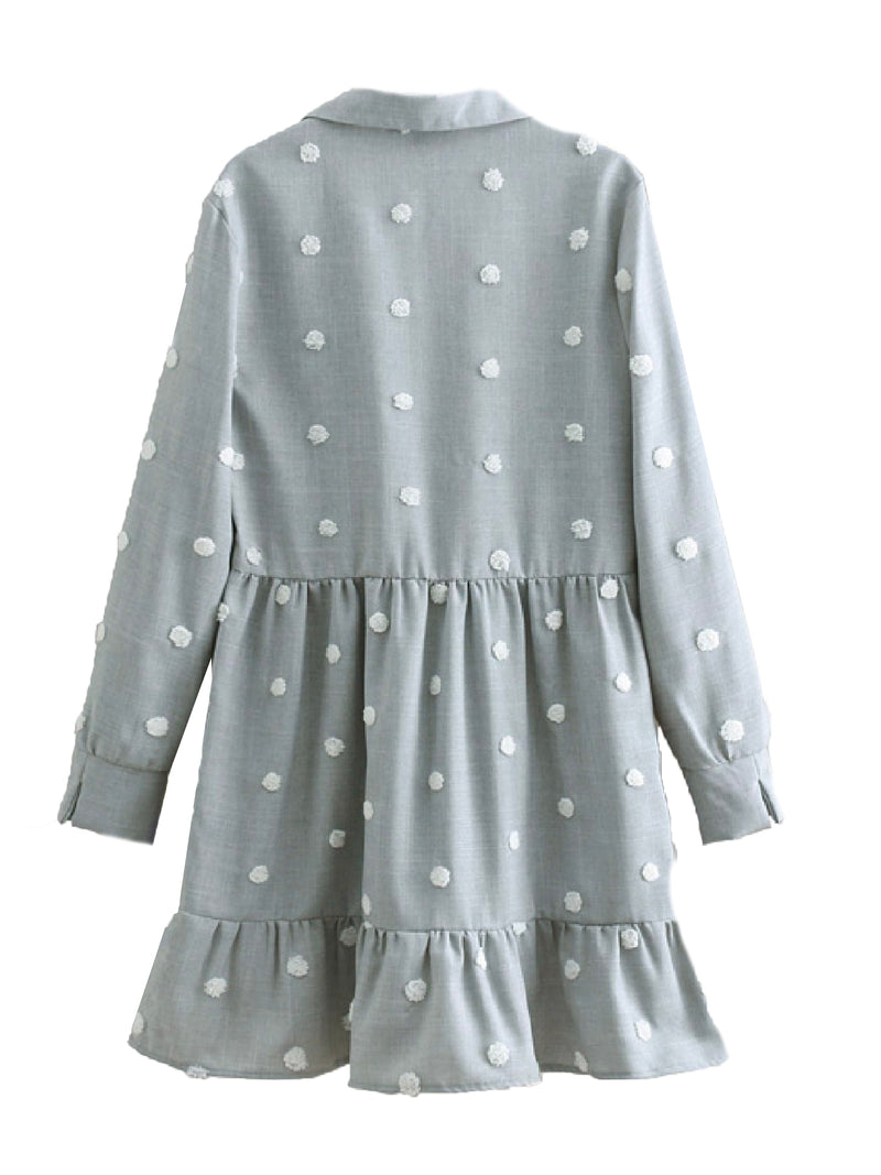 'Michelle' Polka Dot Linen Shirt Dress