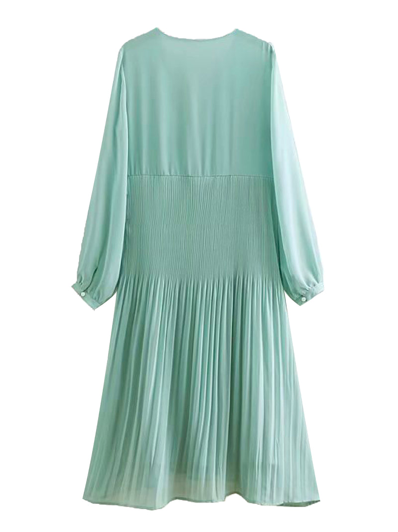 'Tury' Mint Green Chiffon Pleated Midi Dress
