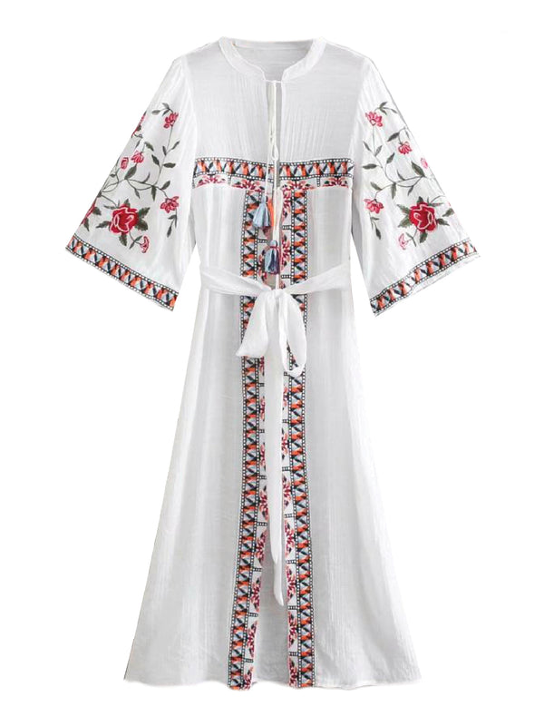 'Iris' Embroidered Open Front Dress