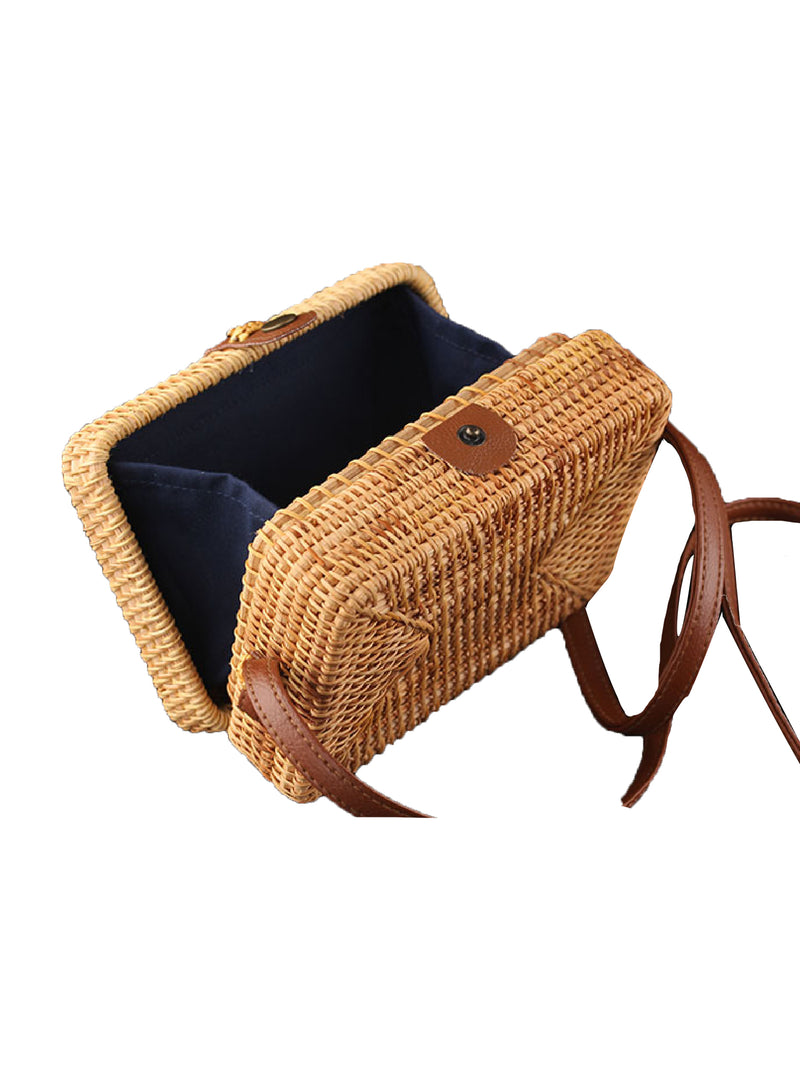 'Julius' Square Box Hand Made Rattan Bag