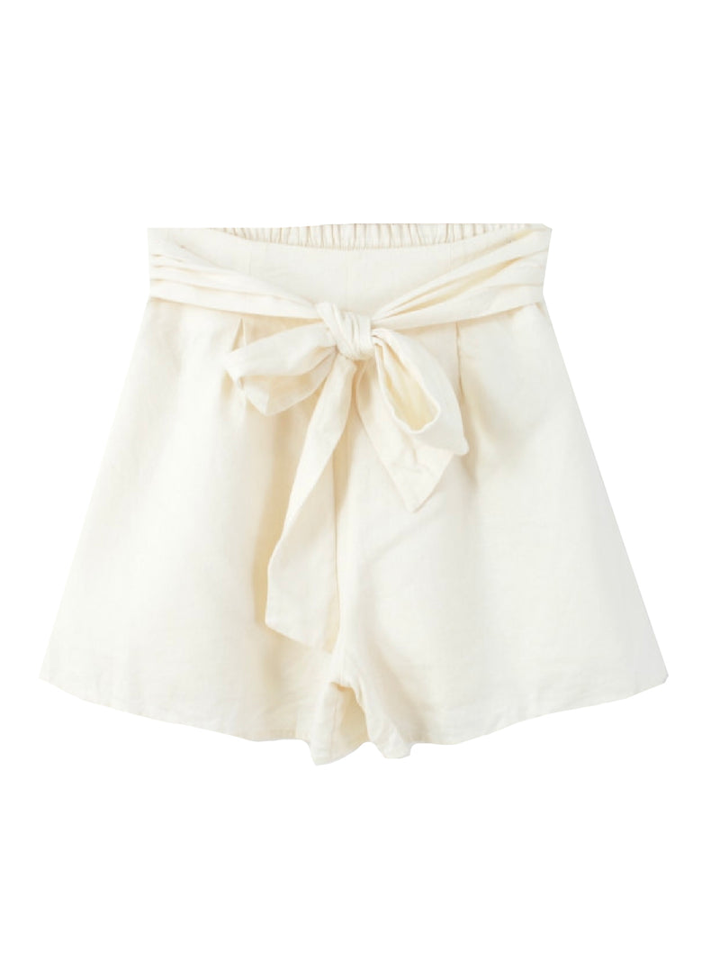'Elle' Linen Paper Bag Shorts (2 Colors)