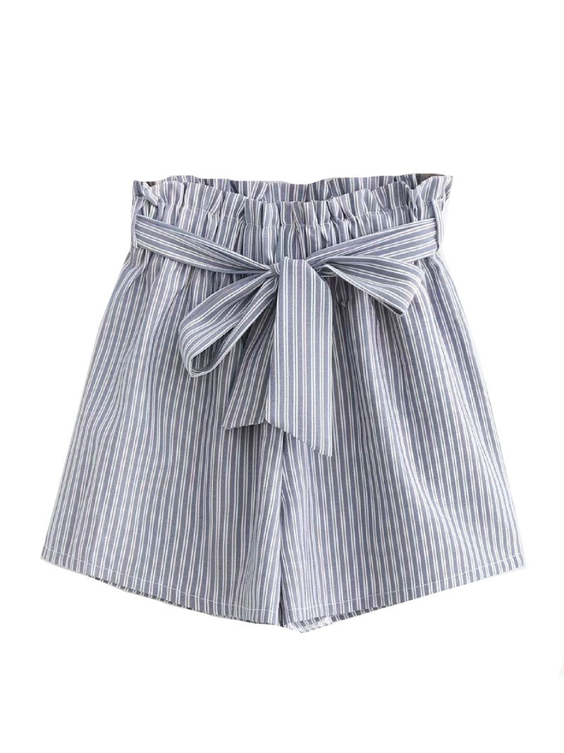'Rainie' Striped Paper Bag Shorts (3 Colors)