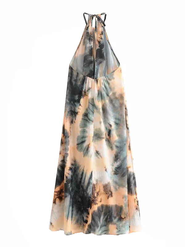 'Sofia' Tie-Dye Halter Neck Maxi Dress