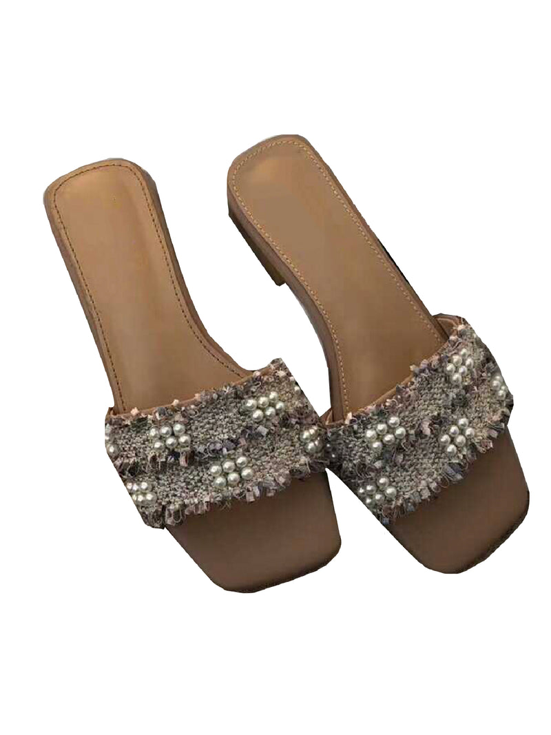 'Pearly' Tweed Pearl Sandals (3 Color)