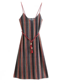 'Ava' Colorful Striped Dress with Belt