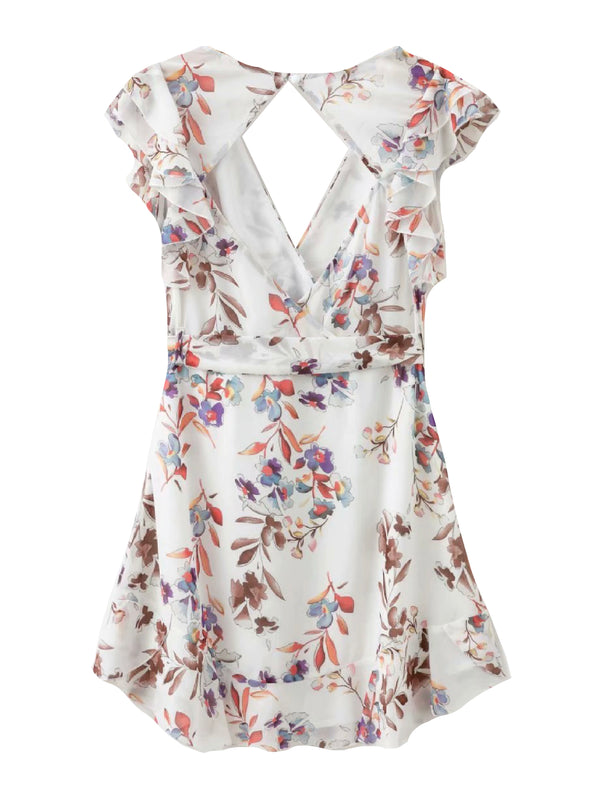 'Olivia' Floral Print Open Back Tied Waist Frill Mini Dress (2 Colors)