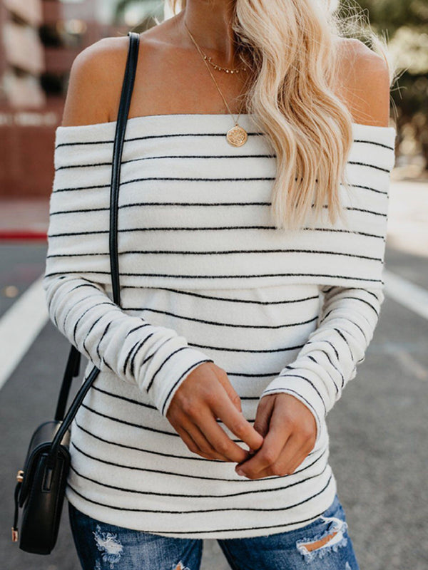 'Kate' Striped Off the Shoulder Long Sleeves Top (4 Colors)
