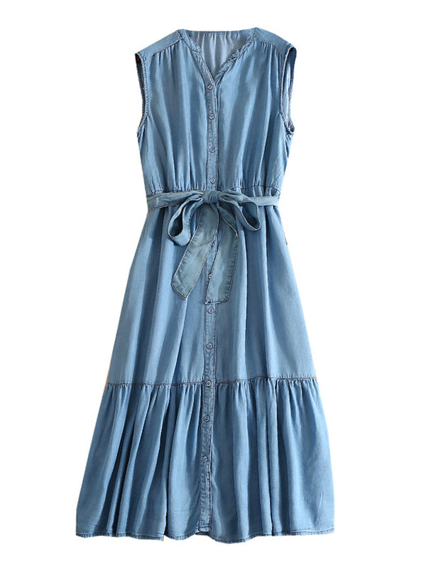 'Valda' Sleeveless Chambray Shirt Dress (2 Colors)