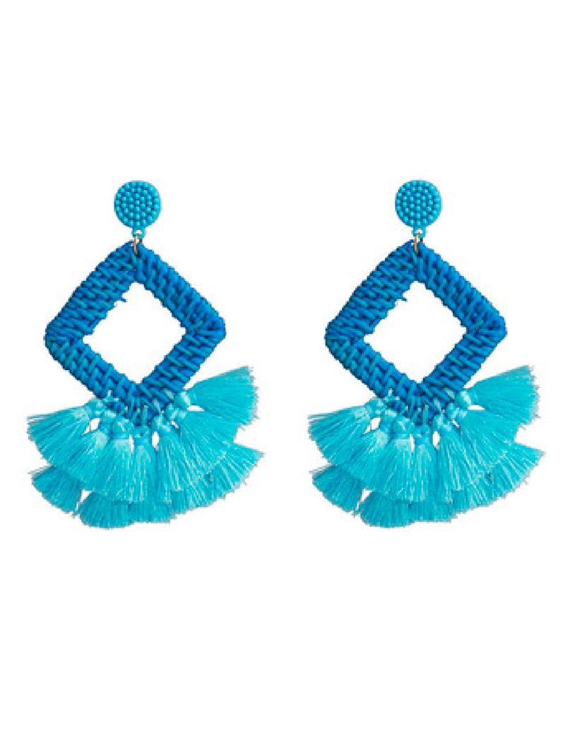 'Coco' Rattan Tassels Drop Earrings (8 Colors)