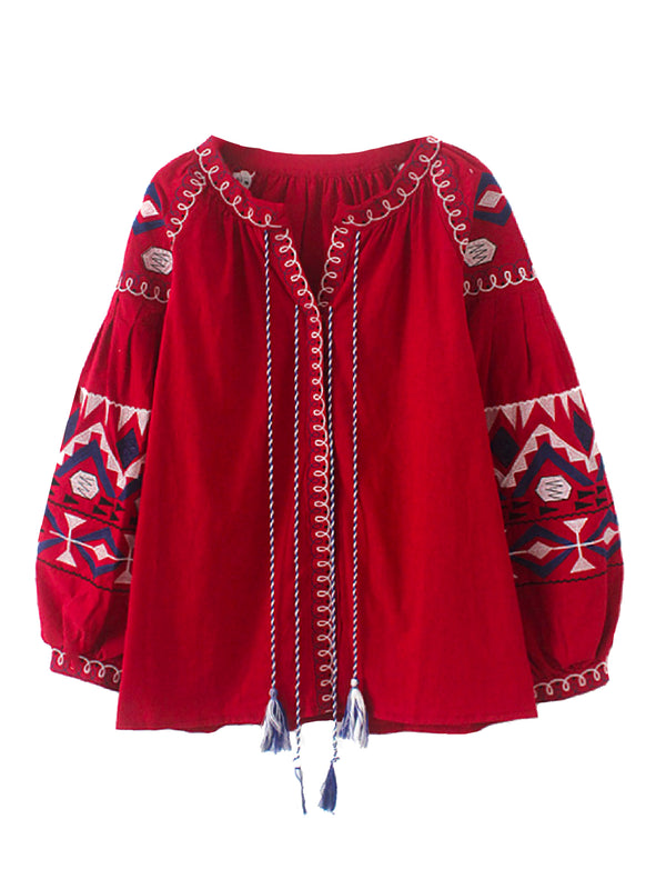 'Kendis' Bohemian Ballon Sleeves Blouse (2 Colors)