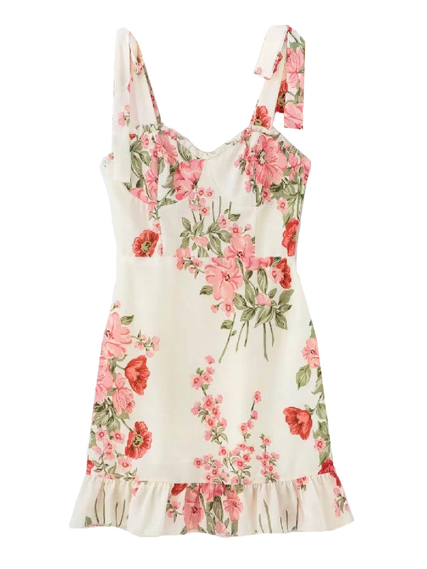 'Joans' Floral Tied Strap Mini Dress