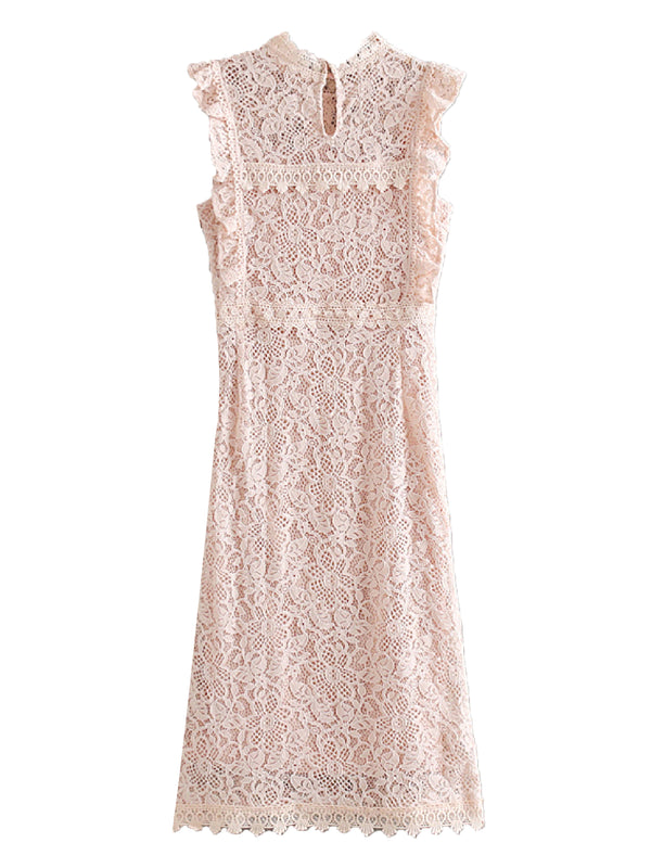 'Emmi' Frilled Sleeve Lace Midi Dress