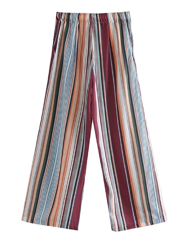 'Fandy' Striped Elastic Waist Wide Leg Pants