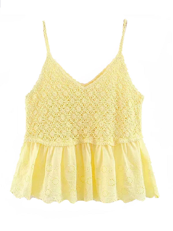 'Amila' Crochet Broderie Anglaise Top (4 Colors)