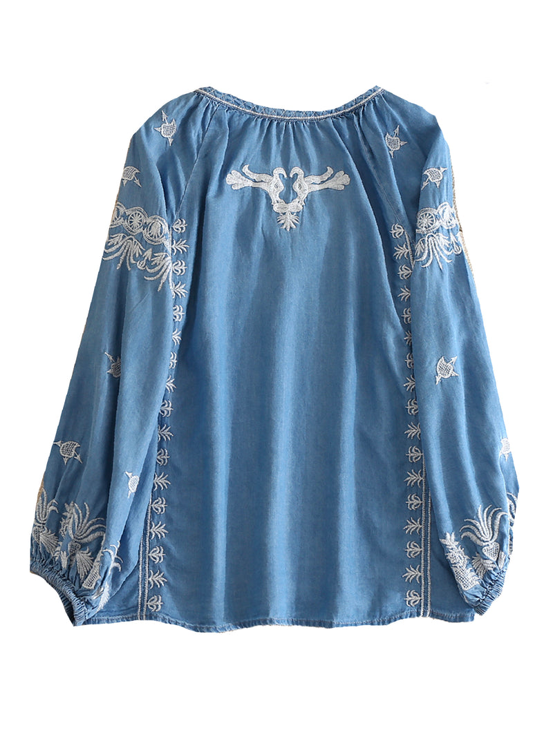 'Tenka' Embroidered Chambray Bohemian Blouse