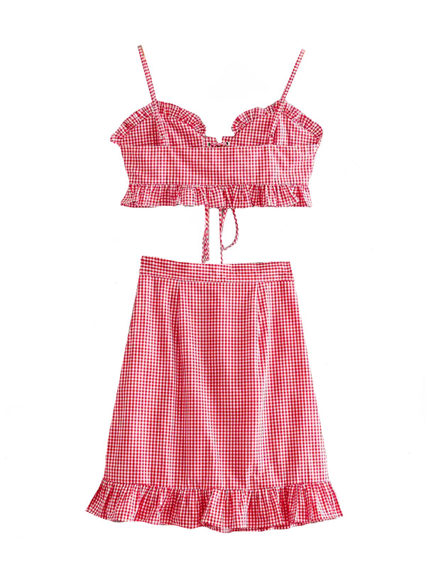 'Ellish' Gingham Mini Skirt Co-ord