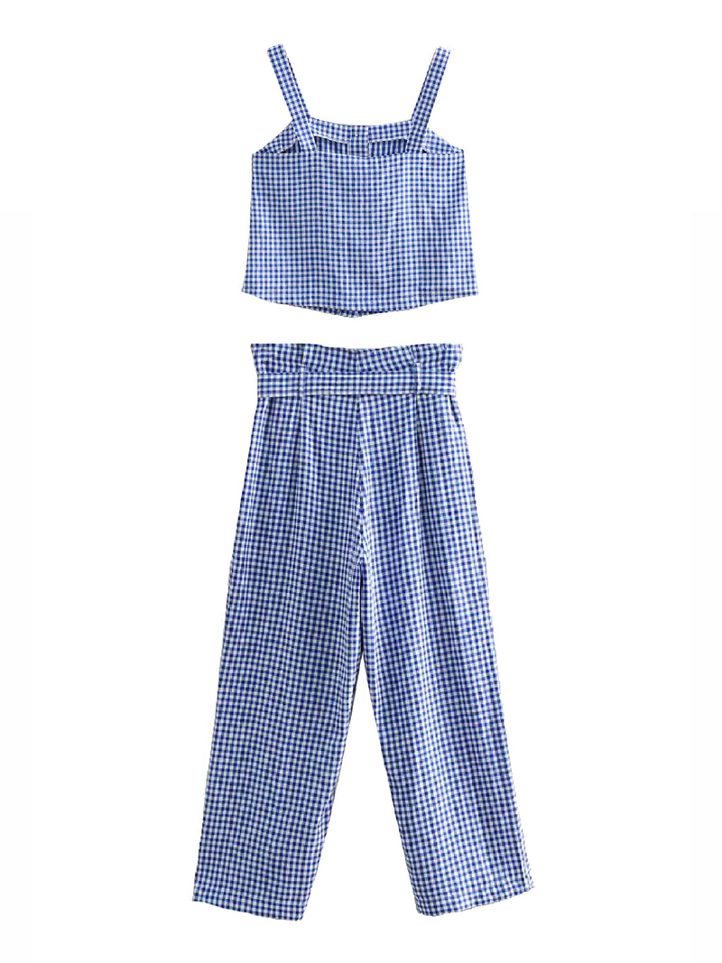 'Tenna' Gingham Crop Top / Paper Bag Pants