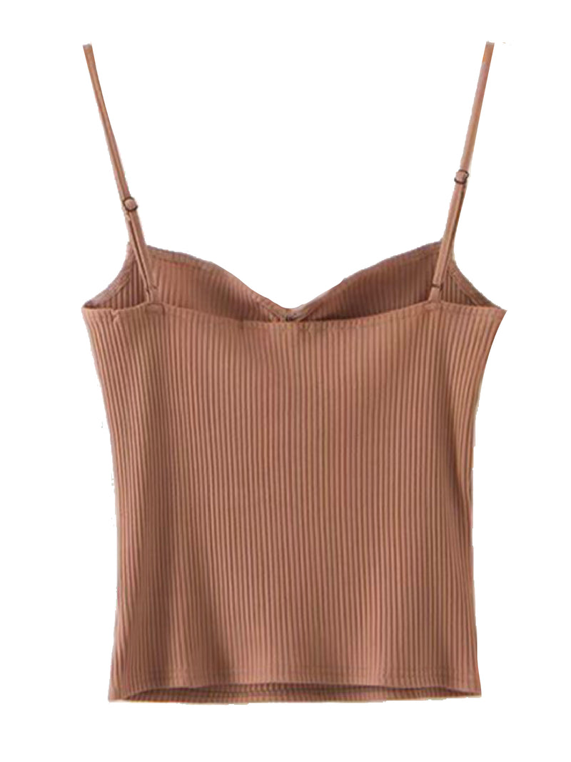 'Dandy' Ribbed Knit Strap Top