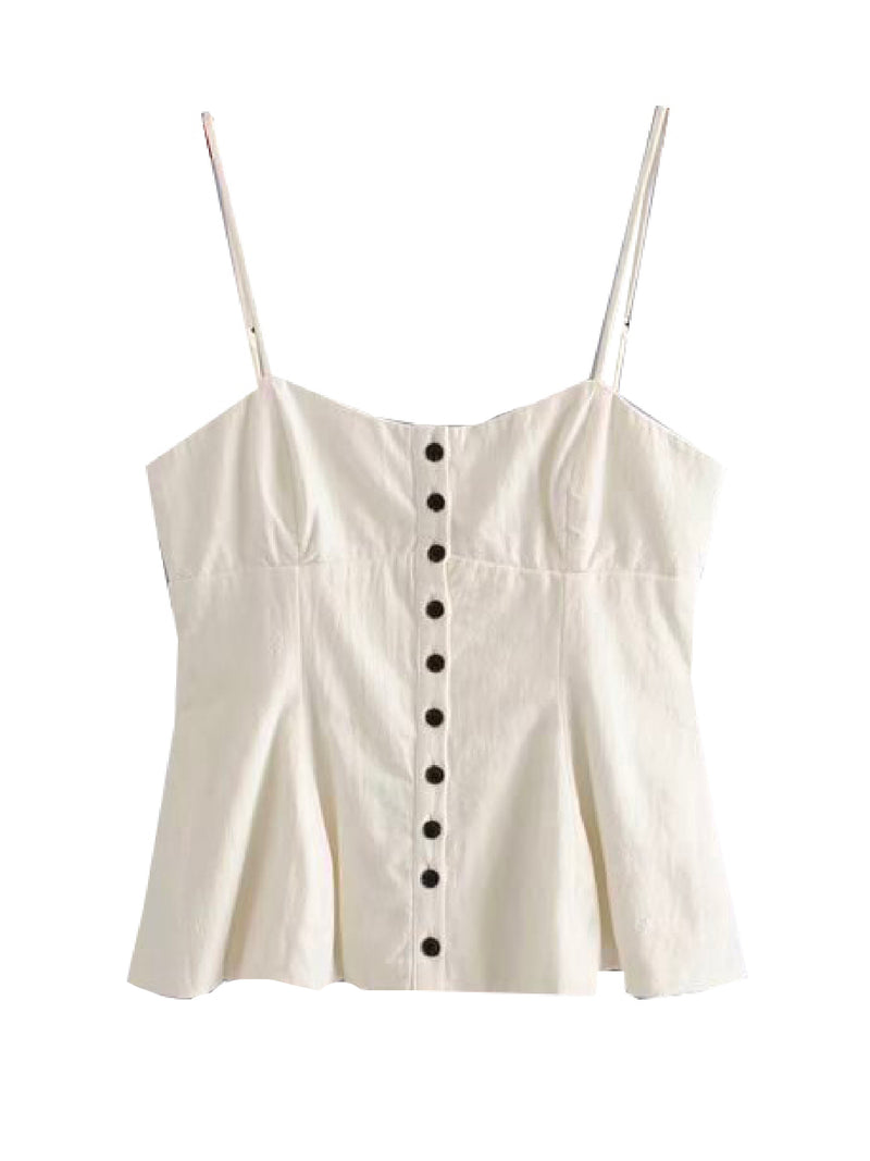 'Wing' Button Front Strap Top