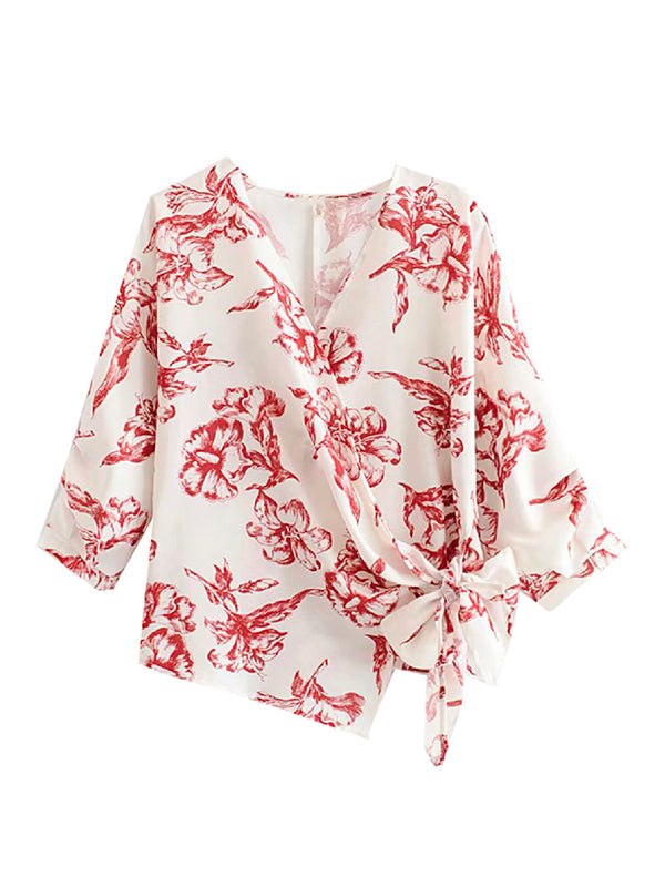 'Clerk' Floral Wrap Top