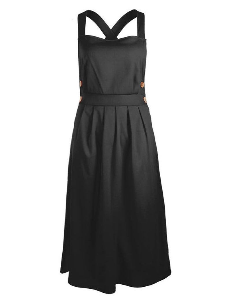 'Ukra' Cross Back Side Button Midi Dress (4 Colors)
