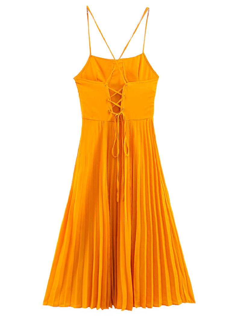 'Birk' Criss Cross Back Pleated Dress