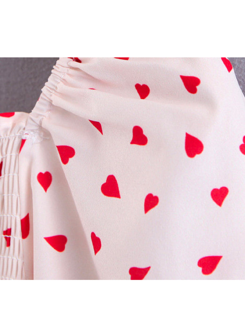 'Alice' Heart Pattern Ruched Top