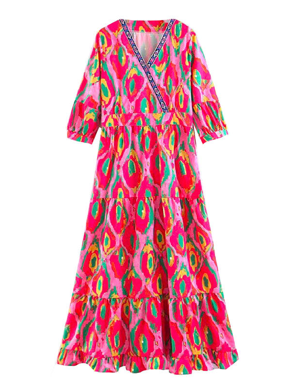 'Janice' Aztec Print Boho Midi Dress (4 Colors)