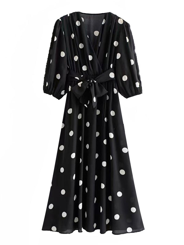 'Kloe' Polka Dot Tied Waist Midi Dress (2 Colors)