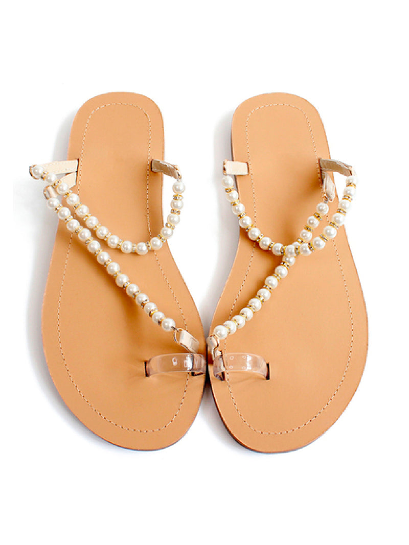 'Jenn' Pearl Strap Toe Loop Sandals
