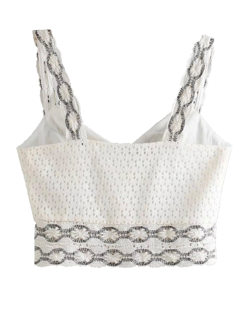 'Hermine' Crochet Button Front Crop Top